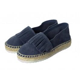 Alpargatas niña Serraje flecos azul jeans