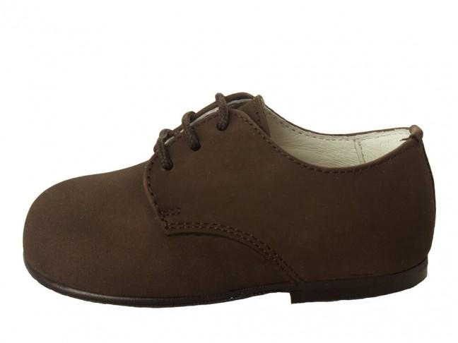 Zapatos blucher niño nina nobuck marrón