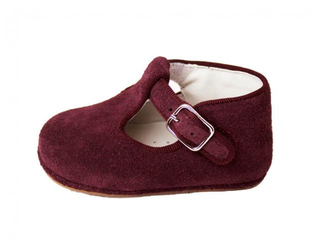 Zapatos pepitos bebé serraje granate