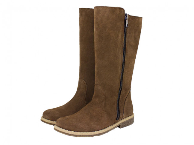 Botas altas niñas piel serraje marrón