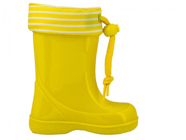 Botas de agua niños Rayas marineras amarillo