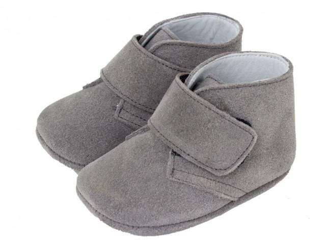Botitas bebe serraje velcro gris