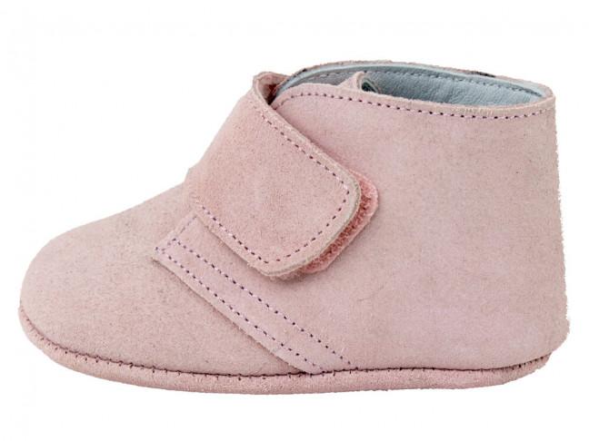 Botitas bebe serraje velcro rosa