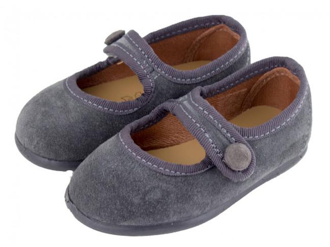 Merceditas niña botón velcro Serraje gris