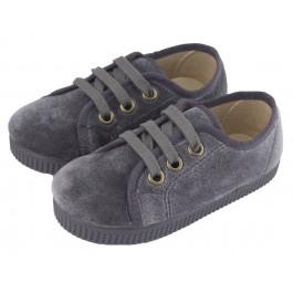 Zapatillas niño niña terciopelo cordones gris