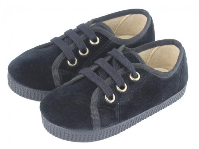 Zapatillas niño niña terciopelo cordones