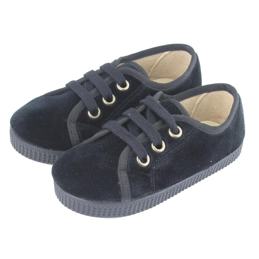 ba916f8e3e67f Zapatillas niño niña terciopelo cordones negro