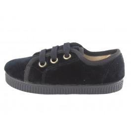 Zapatillas niño niña terciopelo cordones negro