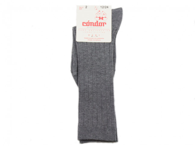 Calcetines niños Condor canalé Altos gris