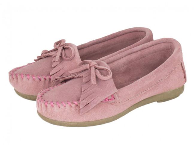 Mocasines niña flecos rosa
