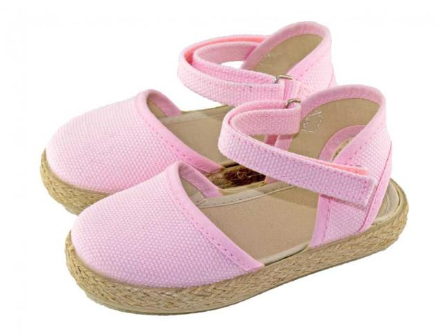 Alpargatas niña velcro rosa claro