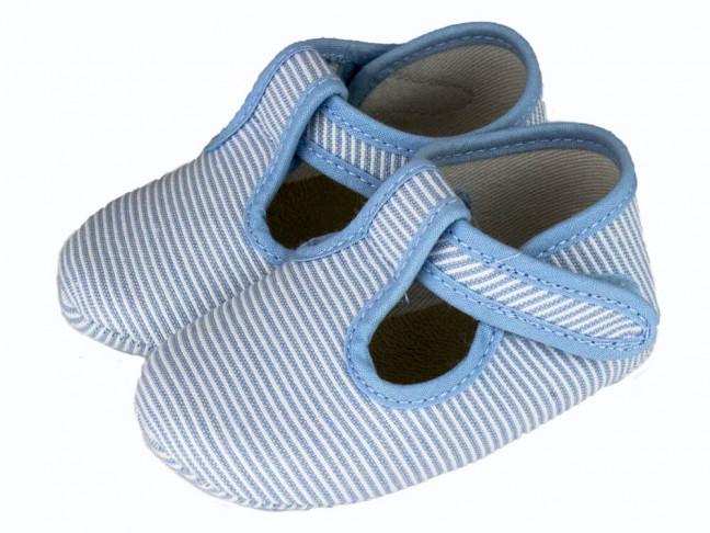Zapatos pepitos bebe tela rayitas azul