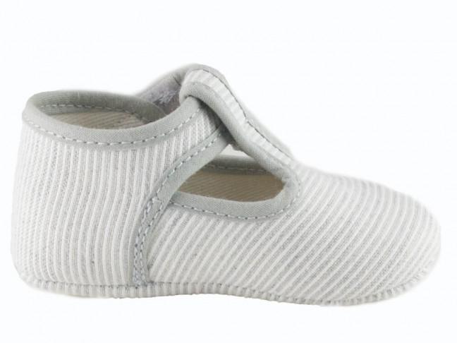 Zapatos pepitos bebe tela rayitas gris