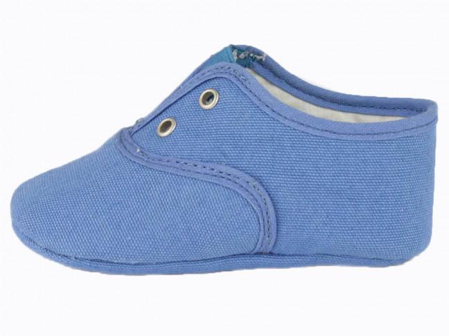 Bambas bebe tela unicolor azul