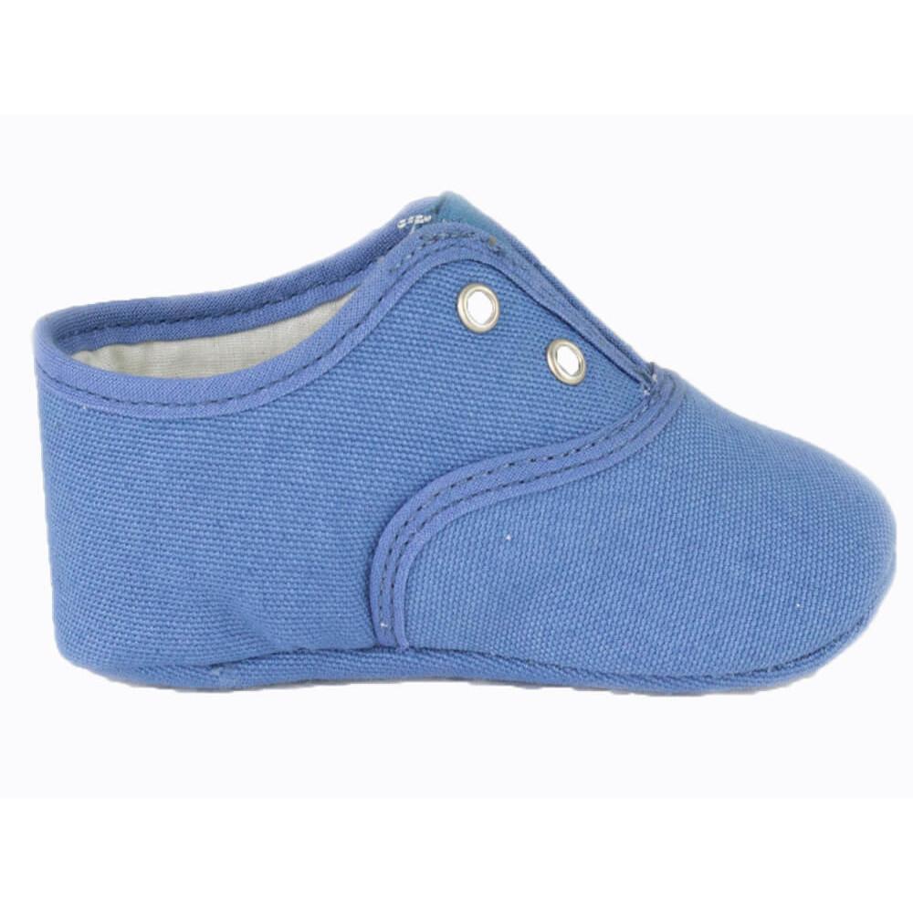 46c1f21b6b6d3 Bambas bebe tela unicolor azul