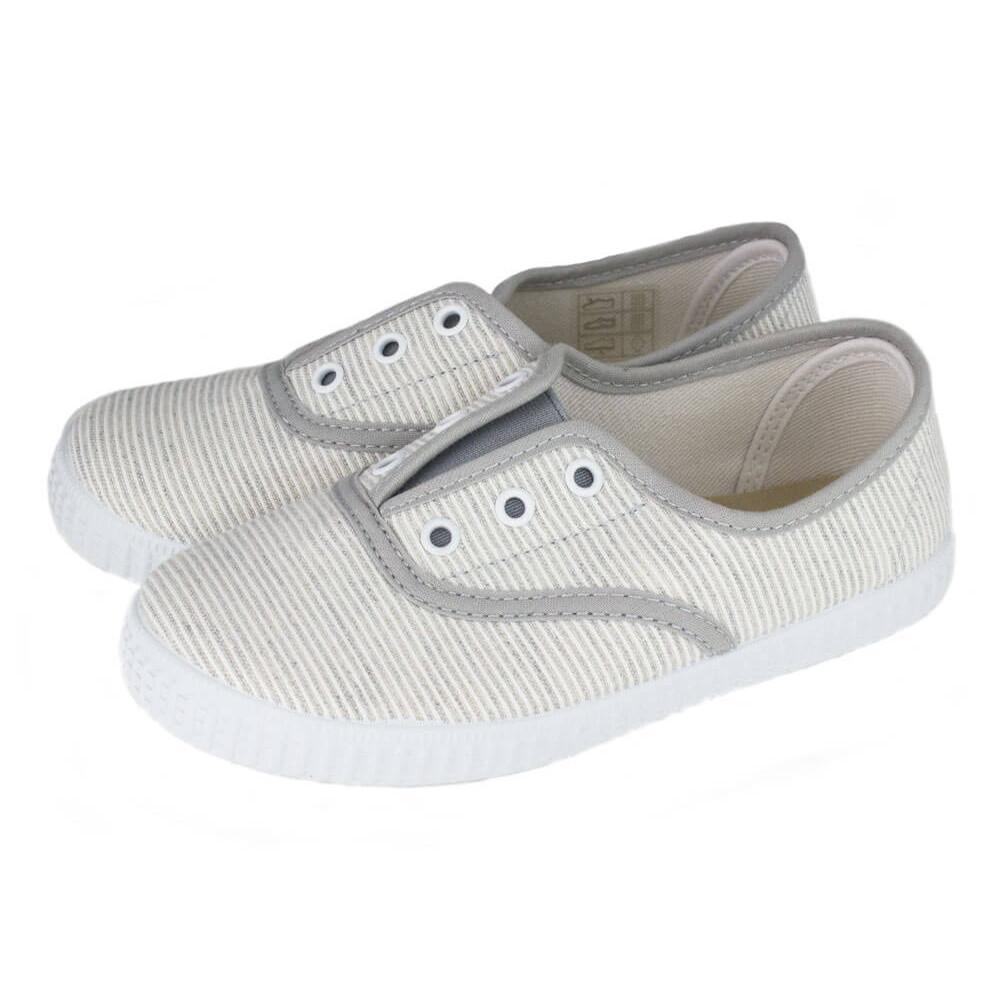 8bc1819f4 Zapatillas lona Bambas niño niña Rayas gris