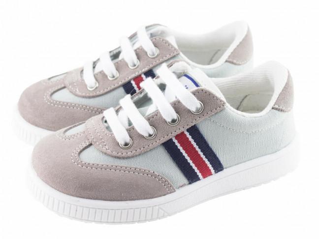 Zapatillas lona niño niña Rayas gris claro