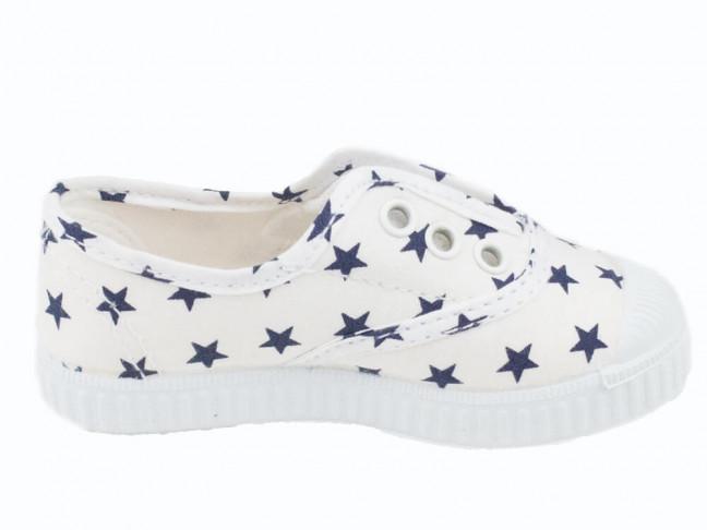 Zapatillas bambas lona niño niña estrellas blancas