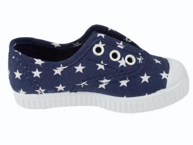 Zapatillas bambas lona niño niña estrellas azul