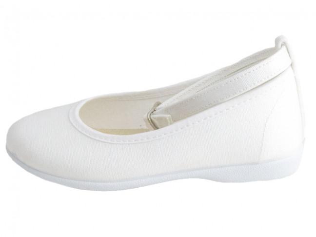 Bailarinas niña pulsera al tobillo lona blanco