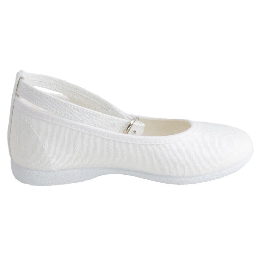 a2c777260 Bailarinas niña pulsera al tobillo lona blanco