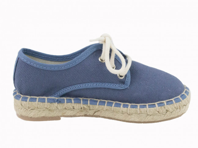 Alpargatas lona niño niña tipo Blucher azul jeans