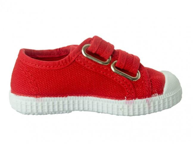 Zapatillas niño niña velcro rojo