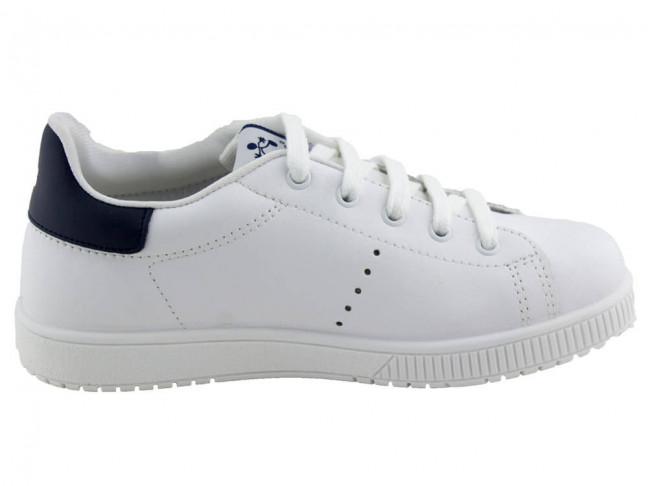 Zapatillas Deporte niño niña piel lavable cordones blanco
