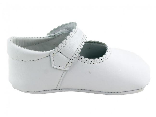 Merceditas bebe piel botón velcro blanco