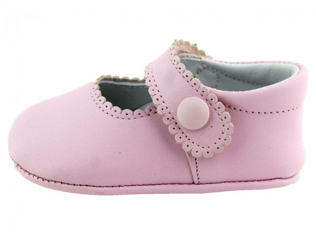 Merceditas bebe piel botón velcro rosa claro