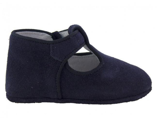 Zapatos pepitos bebé serraje Azul marino