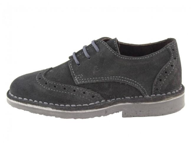 Zapatos blucher niño niña picados gris