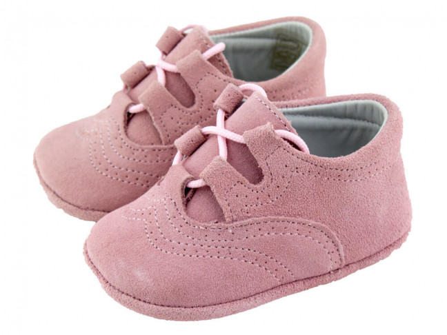 Zapatos Inglesitos bebe serraje rosa viejo
