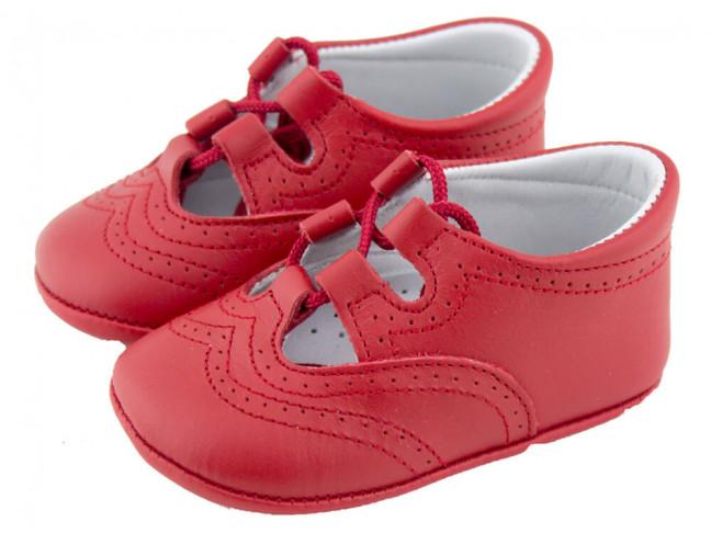 Zapatos inglesitos bebé piel rojo