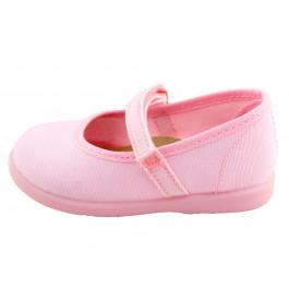 Merceditas niña lona velcro rosa claro