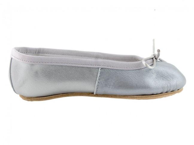 Bailarinas niña piel tipo ballet gris plata