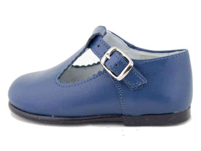 Zapatos Pepitos Bebé Niño Piel azul francia