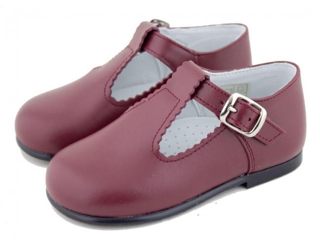 Zapatos Pepitos Bebé Niño Piel granate