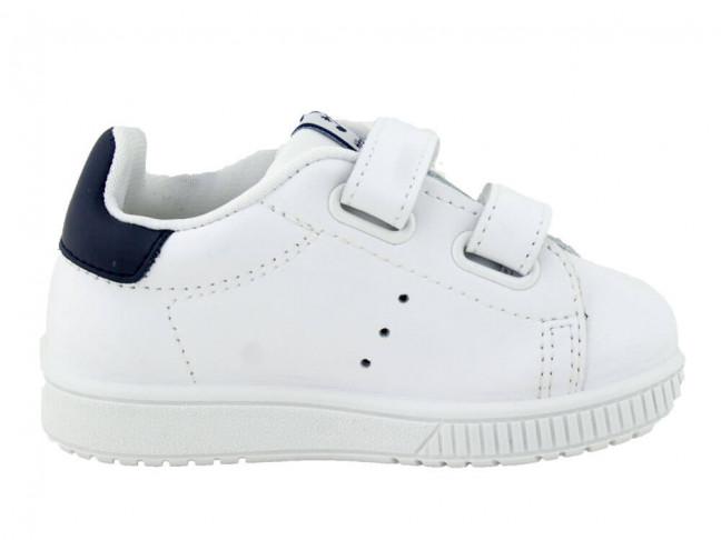 Zapatillas Deporte Niño Niña piel lavable detalle azul blanco