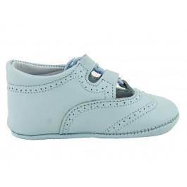 Zapatos inglesitos bebé piel azul claro