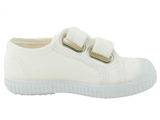 Zapatillas lona niños velcro blancas