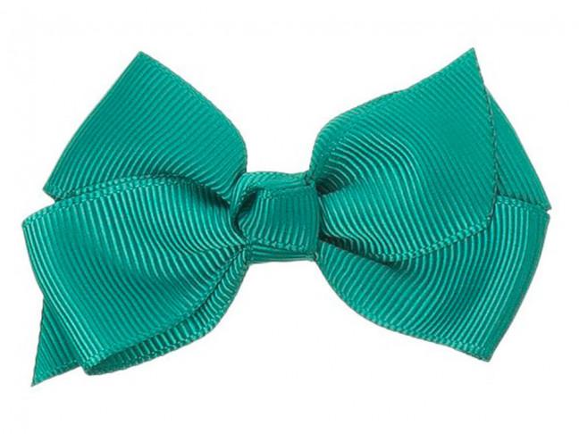 Lazos niña 7x5cm nudo Grosgrain verde esmeralda