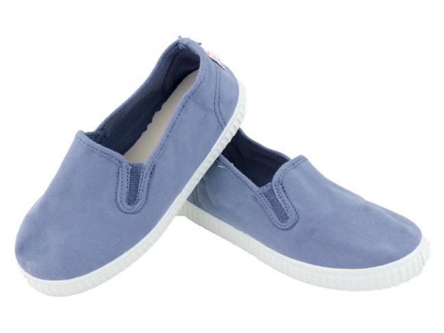 Zapatillas urbanas lona niño niña elásticos azul viejo