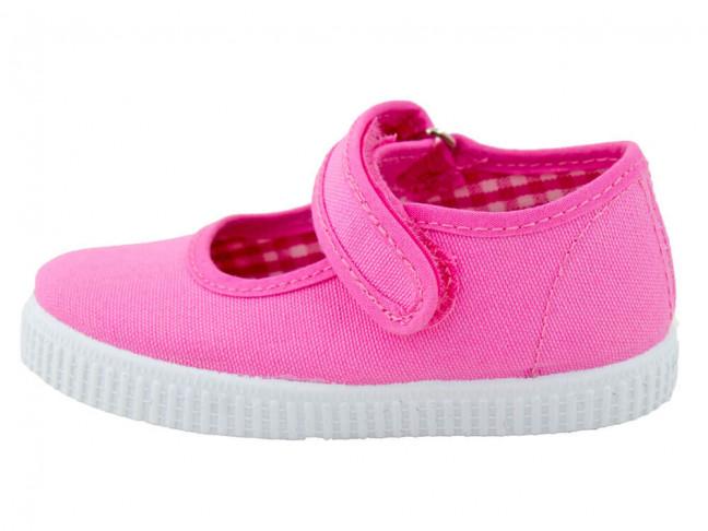 Merceditas niña lona velcro suela tenis rosas