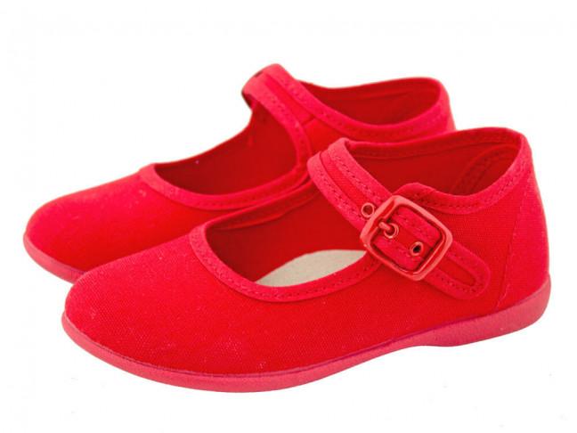 Merceditas niña lona al tobillo rojas