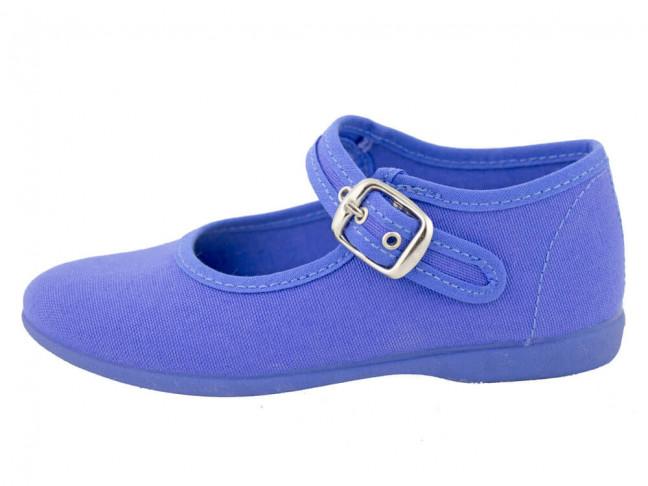 Merceditas niña lona al tobillo azul añil