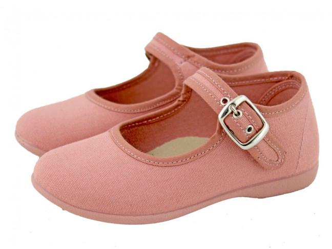 Merceditas niña lona al tobillo rosa antique