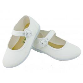 Merceditas niña lona al tobillo blancas