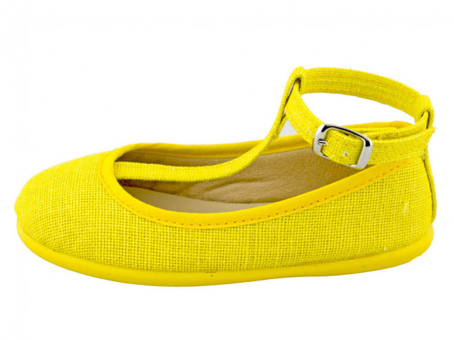 Bailarinas niña lino con pulsera amarillas