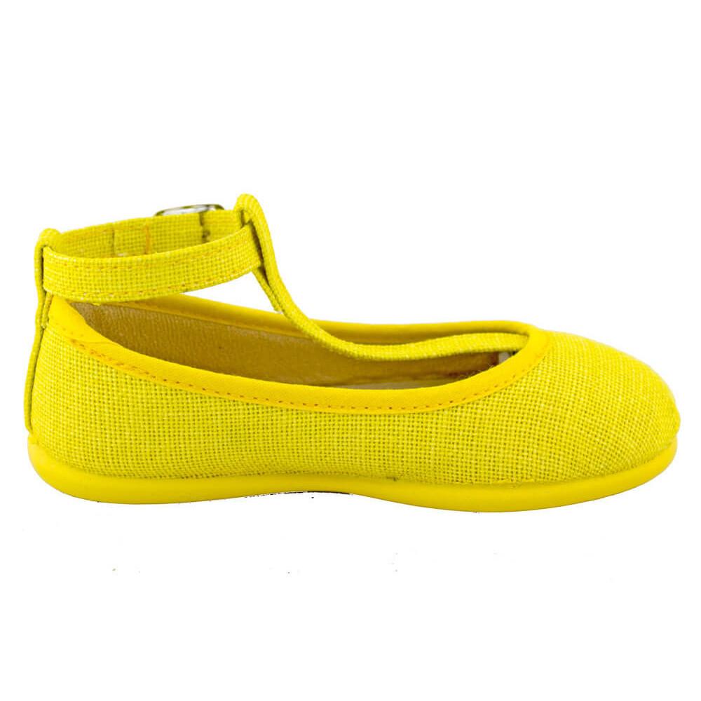 87c553204 Bailarinas niña lino con pulsera amarillas